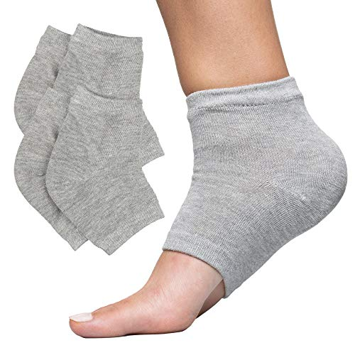 ZenToes Moisturizing Heel Socks 2 Pairs Gel Lined Toeless Spa Socks to Heal and Treat Dry, Cracked Heels While You Sleep (Cotton, Gray)
