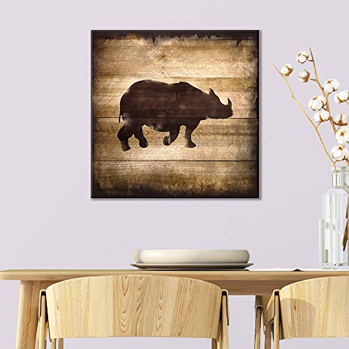 Square Rhino Silhouette on Rustic Wood Board Texture Background