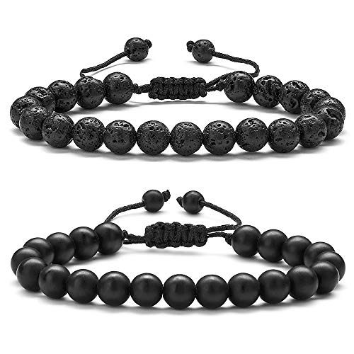 (Aromatherapy Bracelets for Men Lava Stone - 8mm Tiger Eye Stone Beads Bracelet Adjustable Natural Matte Agate Onyx Yoga Essential Oils Anxiety Aromatherapy Bracelets Jewelry Birthday Gifts for Men)