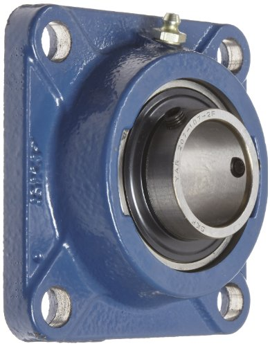SKF FY 1.7/16 TF Ball Bearing Flange Unit, 4 Bolts, Setscrew Locking, Regreasable, Contact and Flinger Seal, Cast Iron, Inch, 1-7/16