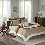 Comfort Spaces - Malcom Bedding Sets 7 Piece Brown Comforter Sets Queen - Natural - Includes 1 Queen Bed Comforter, 2 Shams, 1 Bedskirt, 2 Euro Shams, 1 Decorative Pillow