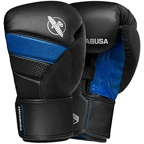 Hayabusa T3 Boxing Gloves   Men and Women   Black/Blue  12oz   Bag ()
