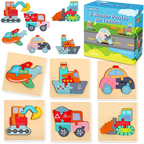 6 Pack Wooden Pegged Puzzles Educational Toys for Toddler Ages 1 2 3 4 Year Old for Toddlers Boys Girls