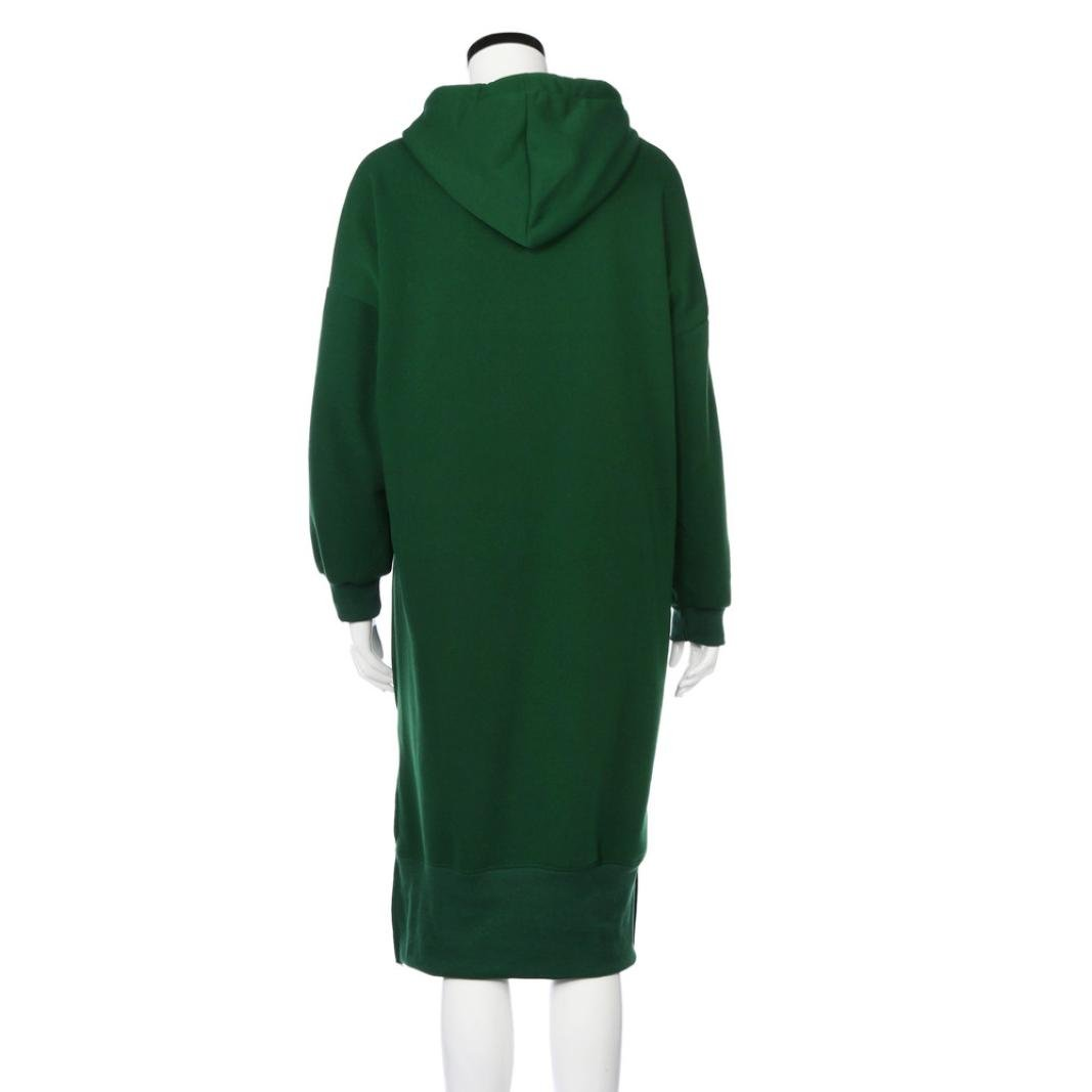 Women Blouse, Neartime Women Casual Hood Sweatshirt Hooded Ladies Long Pullover Tops (L5, Green) by NEARTIME (Image #4)
