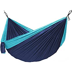 """Buckeye Outdoor Gear - XL Camping Hammock with Straps and Carabiners, 9'10""""x 6'5"""" and a 500 pound capacity! (Blue)"""