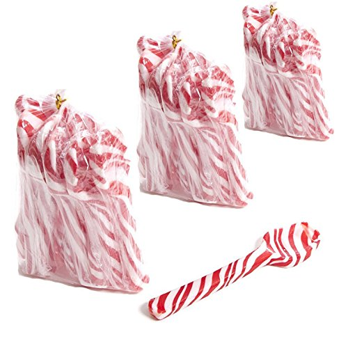 Peppermint Candy Cane Spoons, great for Hot Cocoa Pairing and Parties with kids (Pack of 3) -
