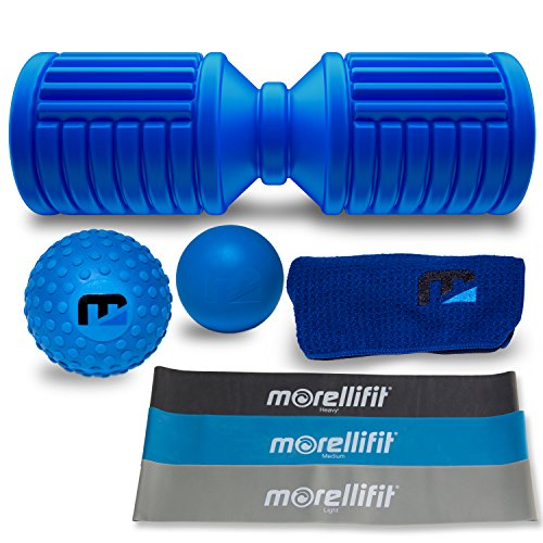 Cheap Foam Roller Massage Mobility Kit: Exercise and Orthopedic Bundle for Trigger Point and Deep Tissue Therapy with High Density Roller, Yoga and Lacrosse Massager Ball Set, Gym Towel and Resistance Bands