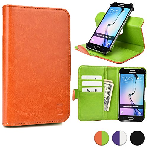 Cooper Cases(TM) Engage C360 Huawei Honor 3 / 3C / 3C 4G / 3C Play / 6 / Holly Smartphone Wallet Case in Orange/Lime Green (Rotating Frame for Rear-camera Access; Viewing Stand; 3 Card Slots; 2 Slip Pockets; Magnetic Cover Lock)