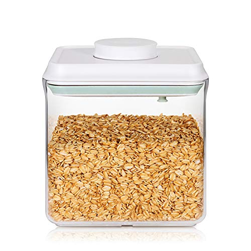 Food Storage Containers, Airtight Seal Canisters with POP – UP Lids for Kitchen Pantry Organization and Storage – Clear Plastic Jar BPA Free for Cereal, Snacks, Flour, Sugar-1.8 Qt