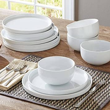 Modern Rim 12-Piece Dinnerware Set White & Amazon.com | Modern Rim 12-Piece Dinnerware Set White: Dinnerware Sets