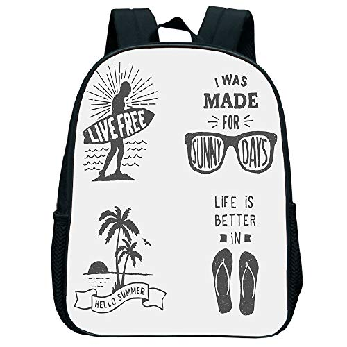 iPrint Vogue Pressure Relief Spine Bag,Quote,Collection of Summer Themed Typography Artworks with Beach Sunglasses Palm Pattern,Black Grey,for Kids,3D Print Design.11.8