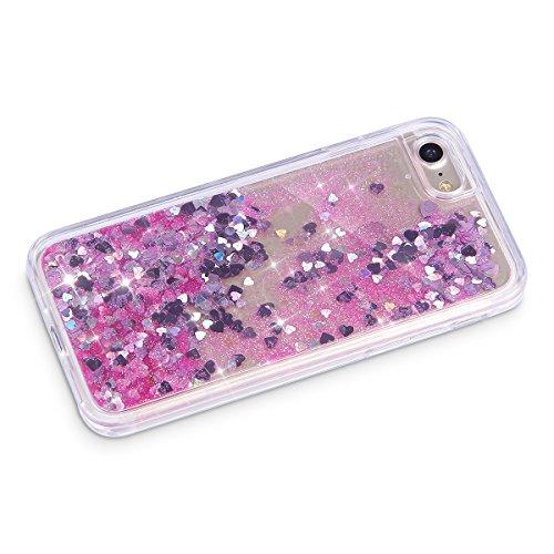 Funda Case para iPhone 6/6S plus 5.5, Ukayfe Carcasa Caso Parachoques del 3D Crystal Creativa Fluye Liquido Lujo Moda Sparkle Glitter Bling Estrella Corazon Quicksand Diseño Cover Funda caja con Bling Glitter 4#