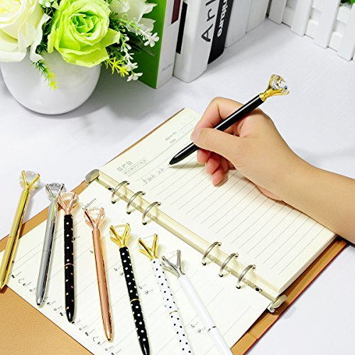8PCS Big Crystal Diamond Pens - Beautiful Bling Metal Ballpoint Pen for Women,Co-Workers,Kids,Girls Photo #6