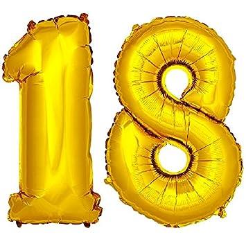 DekoRex® 18 Globo en Oro 80cm de Alto decoración cumpleaños para Aire número