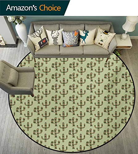 Cactus Non-Slip Area Rug Pad Round,Mexican Inspired Indigenous Foliage Abstract Chevron Nature Theme Protect Floors While Securing Rug Making Vacuuming,Diameter-55 Inch Green Pistachio Green Caramel