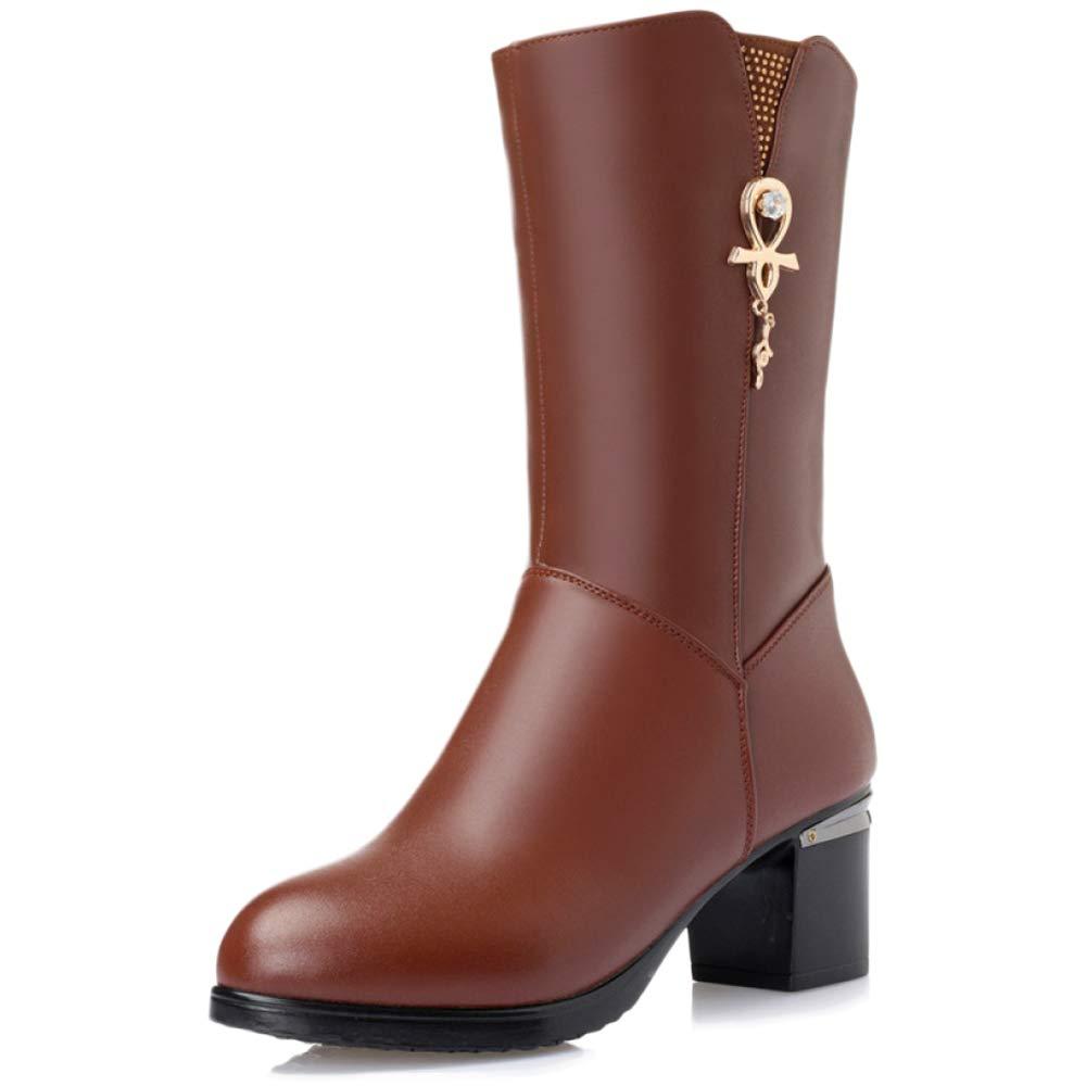 GBRALX Frauen Warme Martin Stiefelies Block Mitte Ferse Seitlichem Reißverschluss Stretch Stiefel Strass Dekoration Casual Outdoor Prom High Stiefel