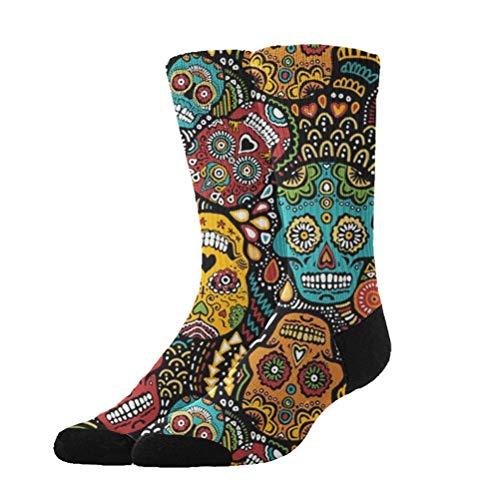 KYWYN Novelty Fashion Mexican Sugar Skulls 3D Printed Athletic Socks Extra Long Socks Knee High Socks for Men Women Boys Girls Outdoor Activities -