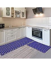COSYLAND 2 stuks keukenmat, anti-vermoeidheid, comfortmat, duurzaam keukentapijt, zware vloermatten, waterdicht, antislip, voor binnen (44 x 60 cm + 44 x 120 cm)