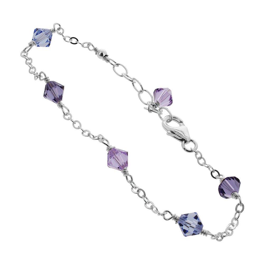 Gem Avenue Sterling Silver Swarovski Elements Multicolor Bicone Crystal Ankle Bracelet 10 to 11 inch Adjuatable