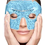 PerfeCore Eye Mask - Get Rid of Puffy Eyes - Migraine Relief, Sleeping, Travel Therapeutic Hot Cold Compress Pack With Cover - Gel Beads, Spa Therapy Wrap for Sinus Pressure Face Puffiness Headaches