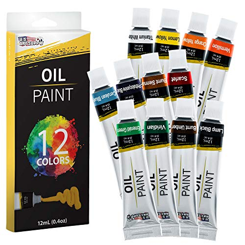 U.S. Art Supply Professional 12 Color Set of Art Oil Paint in 12ml Tubes – Rich Vivid Colors for Artists, Students…