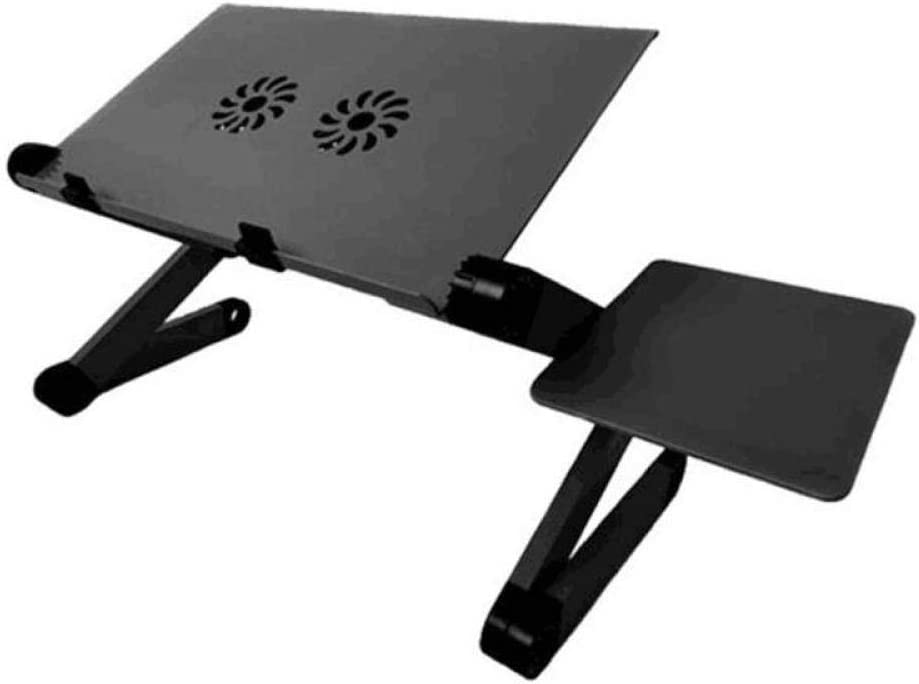 miniaer Adjustable Foldable Laptop Computer Table Aluminum Alloy Lazy Durable Computer Laptop Bracket Tray Sofa Bed Household Supplies-France_Double Cooling Fan