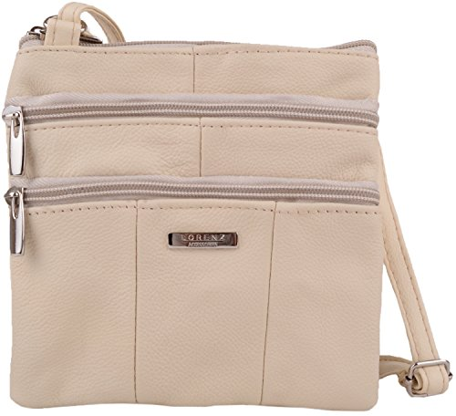 Features with Body Bag Multiple Ladies Leather Shoulder Beige Womens Cross Small xTz0Z