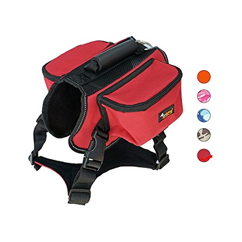 Dog Carried Saddle Backpack Hiking Travel Camping Outdoor Harness Backpack for Medium Large Dog (XL, Red)