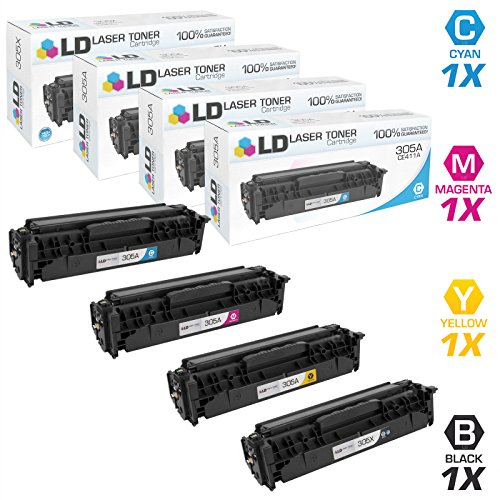 - LD Compatible Toner Cartridge Replacements for HP 305A & 305X High Yield (1 Black, 1 Cyan, 1 Magenta, 1 Yellow, 4-Pack)