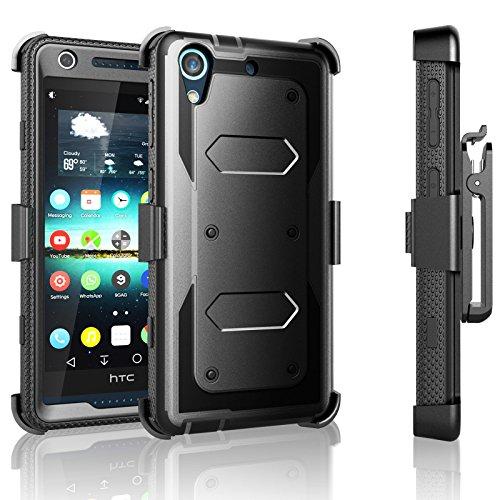HTC Desire 626 Case, Desire 626S Case, Tekcoo [TShell Series] [Black] Shock Absorbing [Built-in Screen Protector] Holster Locking Belt Clip Defender Heavy Case Cover for HTC Desire 626S/626 (Htc Desire T Mobile Phone)