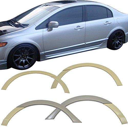 Fender Flares Fits Fit 2006-2011 Honda Civic | Black PU Front & Rear 4 Wheels Full Set Street Trim by IKON MOTORSPORTS | 2007 2008 2009 2010