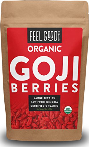Organic Goji Berries - 16oz Resealable Bag - 100% Raw From Ningxia - by Feel Good Organics