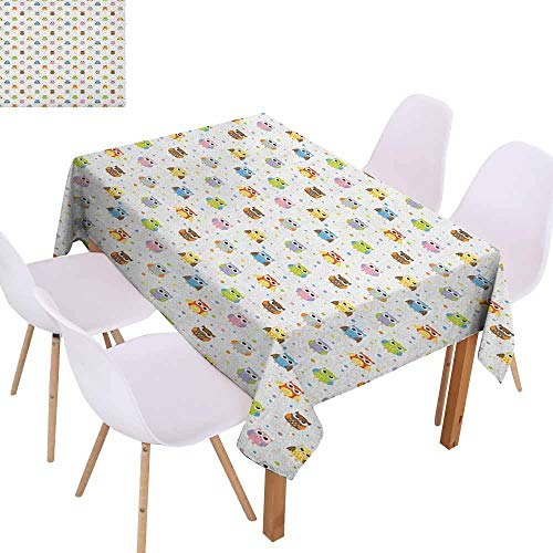 Rectangular Tablecloth Owls Angry and Funny Cartoon Mascots with Colorful Dots Childish Sweet Kids Design Pattern Table Decoration W50 xL80 Multicolor