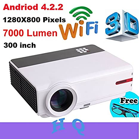 MU 7000 lumens Android 4.2 1080 P full HD Wifi llevado proyector ...