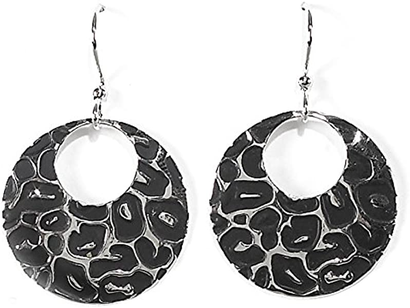 320d018b8 Amazon.com: Jody Coyote Earrings Litho Collection QD026 black silver  leopard circle: Jewelry