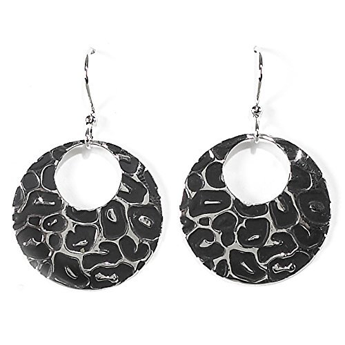 Coyote Circle Earrings - Jody Coyote Earrings Litho Collection QD026 black silver leopard circle