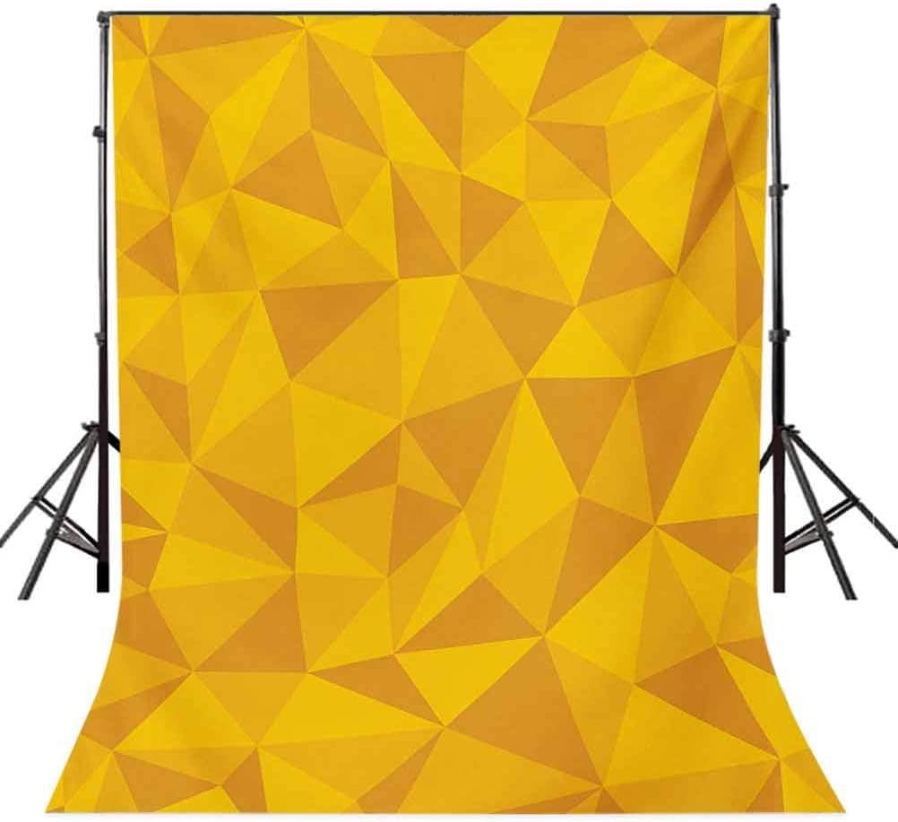 Yellow 6.5x10 FT Backdrop Photographers,Abstract Triangular Cubic Unusual Shaded Shapes Patterns Stylized Mosaic Design Background for Baby Birthday Party Wedding Vinyl Studio Props Photography