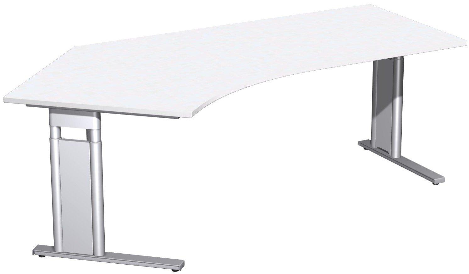 Geramöbel Schreibtisch 135° links höhenverstellbar, C Fuß Blende optional, 2166x1130x680-820, Weiß/Silber