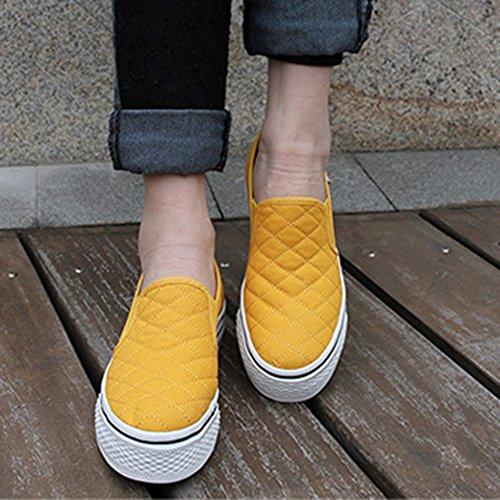 Summerwhisper Femmes Mode Plaid Élastique Antidérapant Baskets Bas Top Slip Sur Pimsoll Toile Chaussures Jaune