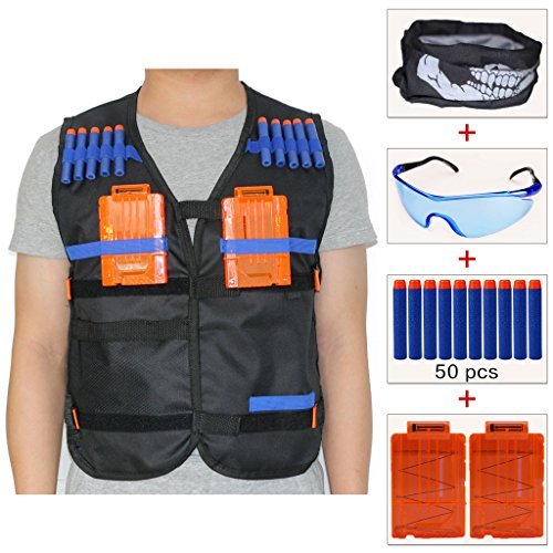 Mask Firepower Airsoft Tactical (COSORO Kids Tactical Vest Jacket Sets (comes with Face Mask + Protective Goggles + 50pcs Blue Foam Darts + 2pcs 5-dart Quick Reload Clip) for Nerf N-strike Elite Toy Gun)