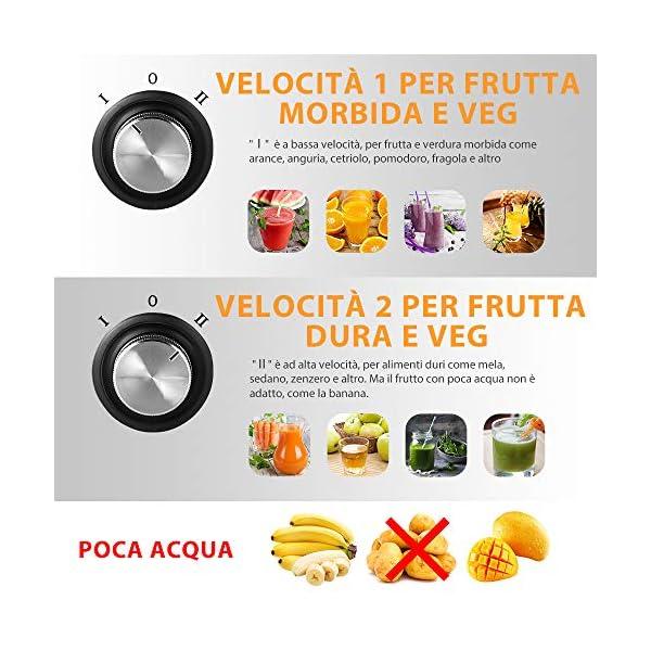Bagotte Centrifuga Frutta e Verdura Professionale, 600W Estrattore di Succo a Freddo a 65MM Bocca Larga con 2 Velocità, Acciaio Inox, Facile Pulizia, Senza BPA - 2020 -