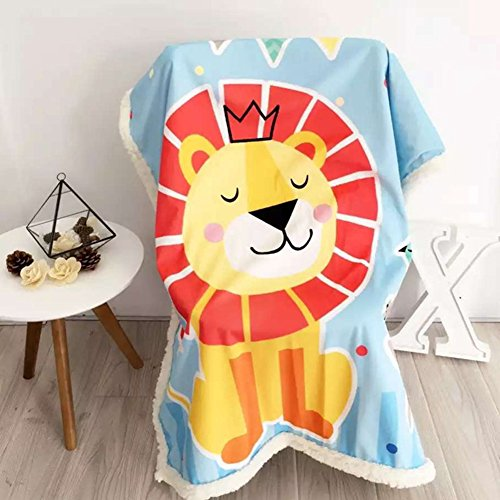 Baby Cartoon Blanket Cashmere&Plush - Super Soft Children Push-Car Covers Winter Thick Design Kindergarten Sleep Blankets 59 X 79 Inch Lion by bigxxx