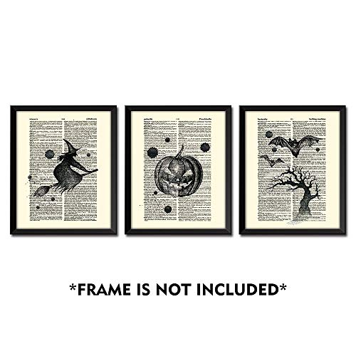 SUMGAR Halloween Decor Vintage Dictionary Page Papers Posters Pumpkin Lantern Witch on Broom Bat Night Flight Spooky Art Prints Set of 3-8x10s -