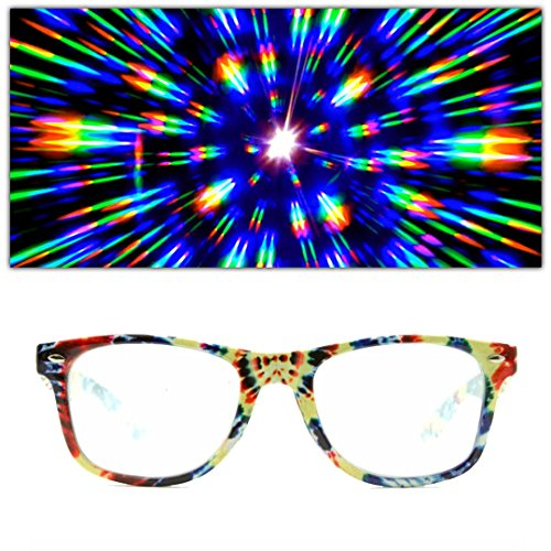 GloFX Diffraction Glasses Tie Dye Rainbow - Tie Glasses Dye