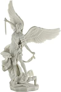 Top Collection Archangel St. Michael Statue - Greek Roman Catholic Angel Saint Miguel Sculpture in Premium White Marble Finish- 14.5-Inch Collectible Peace and Justice Figurine Defeating Lucifer