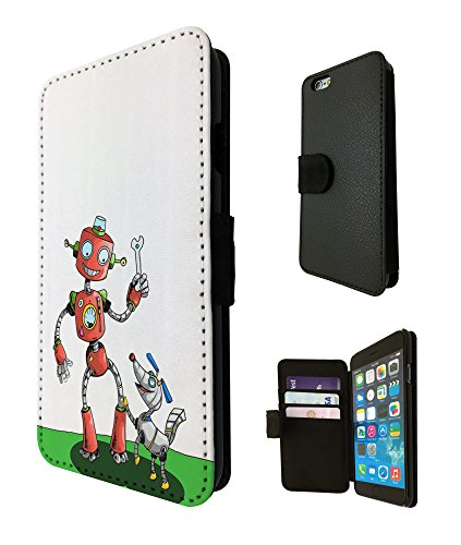 2120 - Cool Red Cartoon Robot Tools Robot Dog Design iphone 5C Fashion Trend TPU Leather Flip Case Full Case Flip Credit Card TPU Leather Purse Pouch Defender Stand Cover