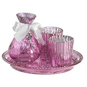 Pink Glass Boudoir Set with Tray