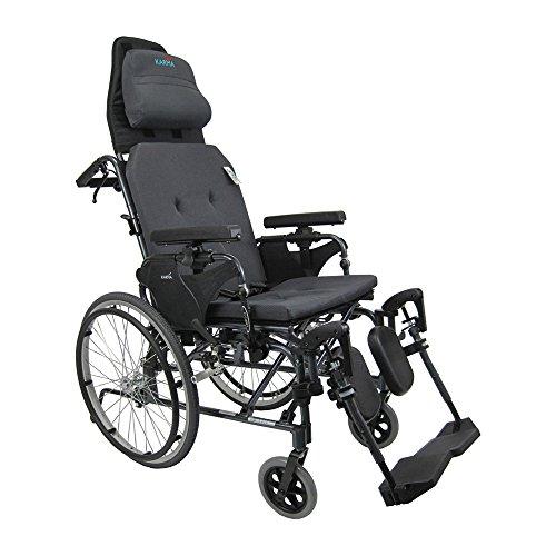 Karman Healthcare MVP502-20 Ergonomic V-Seat Reclining Wheelchair, Diamond Black, 22 Inches Rear Wheels and 20 Inches Seat Width