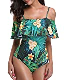Tempt Me Women One Piece Vintage Printed Off Shoulder Flounce Ruffled Swimwear Swimsuits Green XL