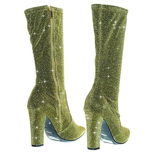 Stivali Alti In Pelle Di Vitello Con Tacco In Glitter Glitter Oro
